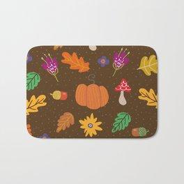Autumn Fall Leaves Flower Pattern Bath Mat