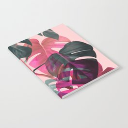 Monstera Shadows on Pink Notebook