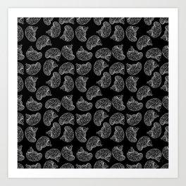 Brains - White on Black Art Print