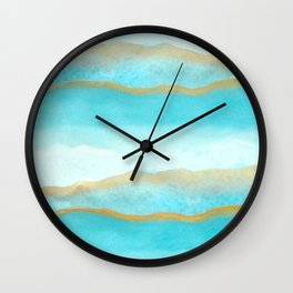 Gold and blue sea Wall Clock