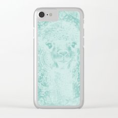 Happy Ghostly alpaca and mandala in Limpet Shell Blue Clear iPhone Case