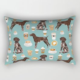 German Shorthaired Pointer Coffee Dogs - dogs and coffee, gsp, cute dog, pet, latte Rectangular Pillow
