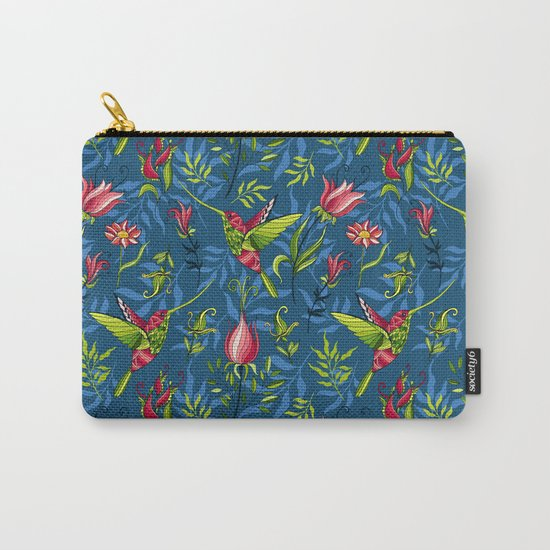 Hummingbirds and flowers. Blue pattern Carry-All Pouch