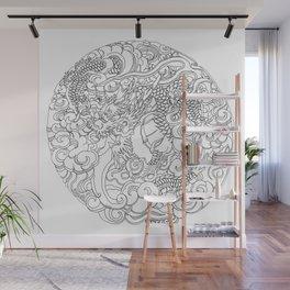Tokyo Asakusa Dragon - Line Art Wall Mural