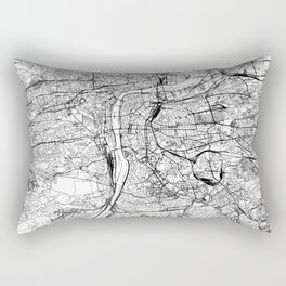 Prague White Map Rectangular Pillow