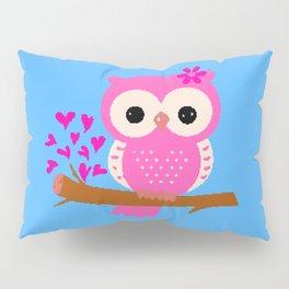 Pink Owl On A Branch | 8 Bit Pixel Art Pillow Sham