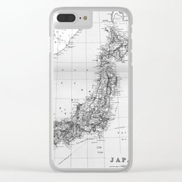 Vintage Map of Japan (1892) BW Clear iPhone Case