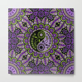 Yin yang symbol in purple and lime foil ornament Metal Print