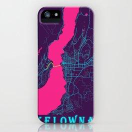 Kelowna Neon City Map, Kelowna Minimalist City Map Art Print iPhone Case