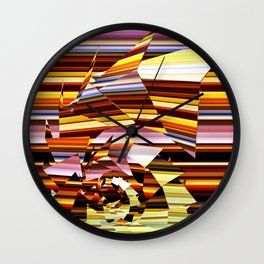 Fractured Spiral on Stripes Wall Clock