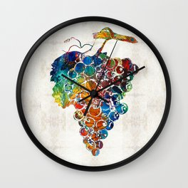 Colorful Grapes Fruit Art by Sharon Cummings Wall Clock