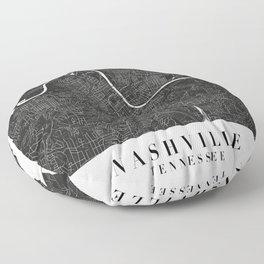 Nashville Tennessee Minimal Black Mono Street Map  Floor Pillow