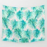 blush Wall Tapestries featuring Paradise Palms Blush by Jacqueline Maldonado