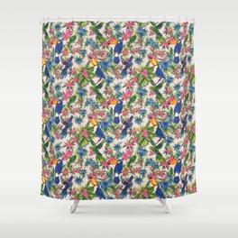 Tropical Bird Floral Summer Print Shower Curtain
