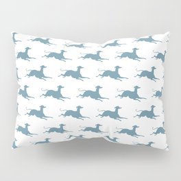 Light Steel Blue Greyhound Pattern on White Pillow Sham