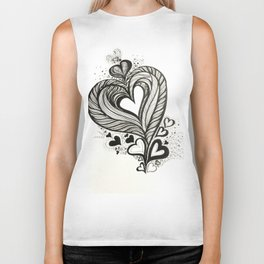 HeArt Therapy - Black and white heart Biker Tank