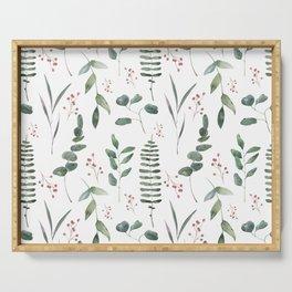 modern eucalyptus branches art Serving Tray