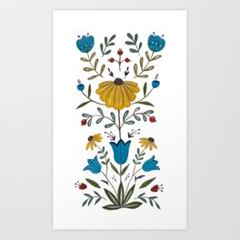 Folk Art Florals Art Print