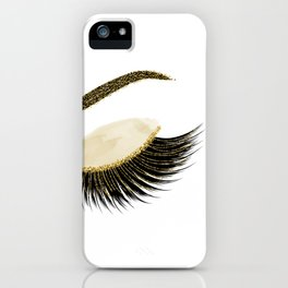 Glittery gold  lashes iPhone Case