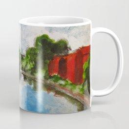 Longboat canal boat on river Coffee Mug