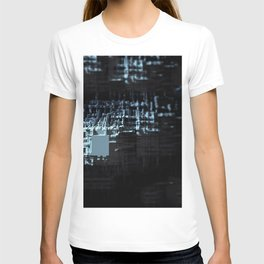 Spaceship structure urban intricate pattern abstract background T-shirt