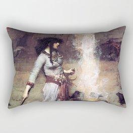 THE MAGIC CIRCLE - JOHN WILLIAM WATERHOUSE Rectangular Pillow