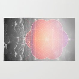 The Sun Is But A Morning Star (Mono Geometric Sunrise) Rug
