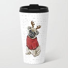 Reindeer Pug Travel Mug