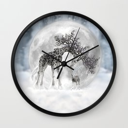 Giraffe Moon Dreaming Wall Clock