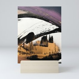 Axis [1]: a bold, minimal abstract in gold, purple, blue, black and white Mini Art Print
