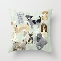 dogs Throw Pillows featuring Dogs by Augustwren