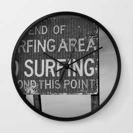 No Surfing Beyond this Point Wall Clock