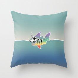 Unicorn Shark Skeleton Throw Pillow