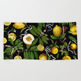 LEMON TREE Black Beach Towel