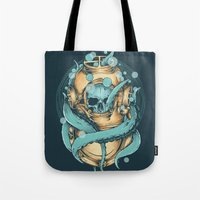 diver Tote Bags featuring The Diver by Robin Clarijs
