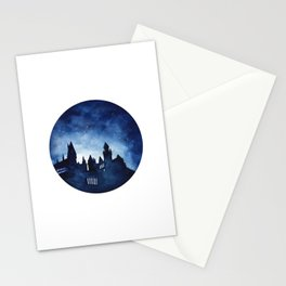 Hogwart Castle Watercolor Circle Print Stationery Cards
