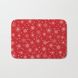 Red & White Snowflakes Pattern Bath Mat