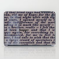 camus iPad Cases featuring Literary Quote Poster — The Stranger by Albert Camus by Evan Beltran