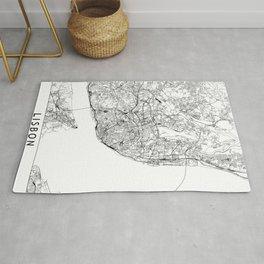 Lisbon White Map Rug