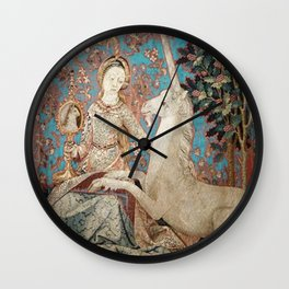 Medieval Art - Lady and the Unicorn in Turquoise Wall Clock