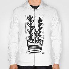 Plant in the pot linocut print Hoody