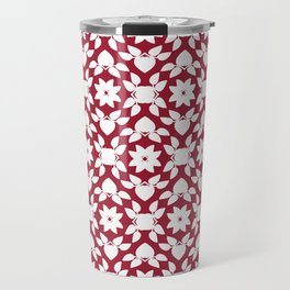 Crimson Red Flower Leaf Pattern Travel Mug