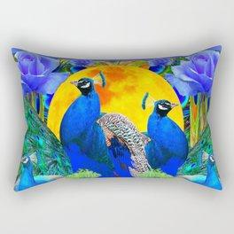 BLUE ROSES & BLUE GREEN PEACOCK FLORAL PATTERN Rectangular Pillow
