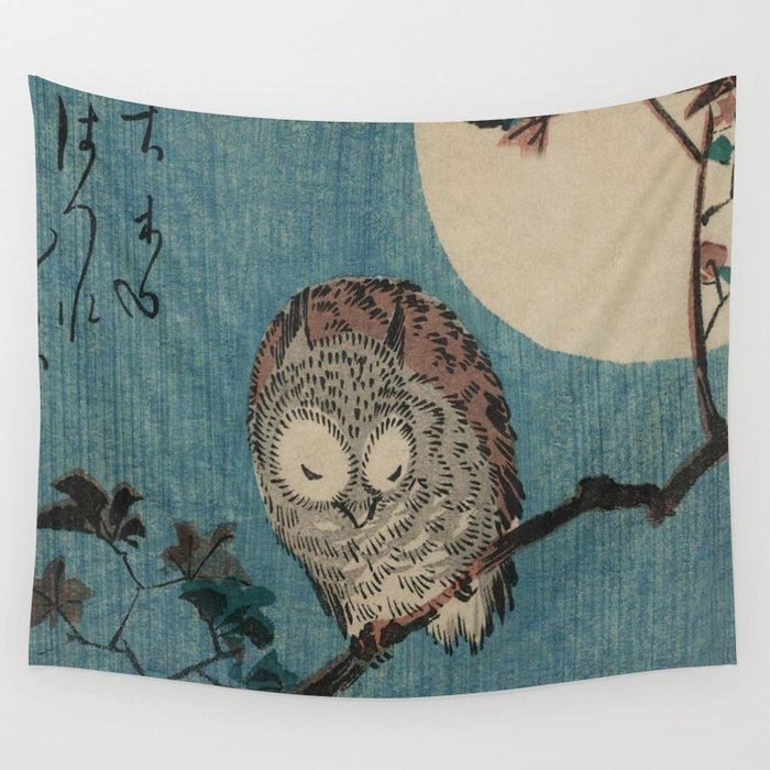 Vintage Japanese Owl Wall Tapestry