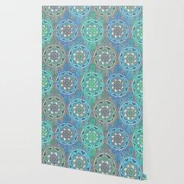 Mint Green, Blue & Aqua Super Boho Medallions Wallpaper