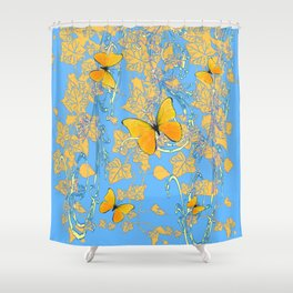 BABY BLUE ABSTRACT  IVY VINES & YELLOW BUTTERFLIES Shower Curtain