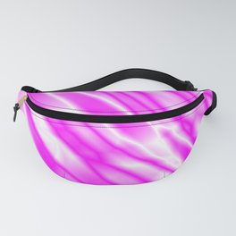 Light metal crooked mirror with pink white diagonal stripes. Fanny Pack