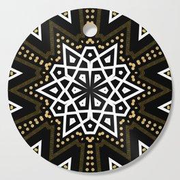 Black White + Gold Geometric Star Cutting Board