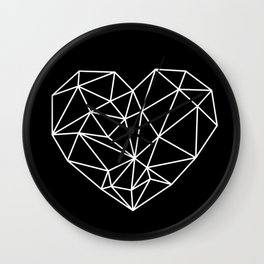 Black and White Geometric Heart Wall Clock