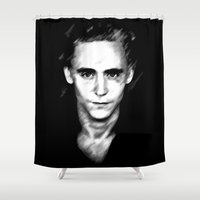 tom hiddleston Shower Curtains featuring Loki (Tom Hiddleston) by Olive in Pinkland
